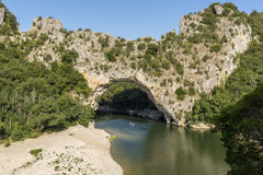 Pont d'arc over the river Ardeche, South France Royalty Free Stock Photo