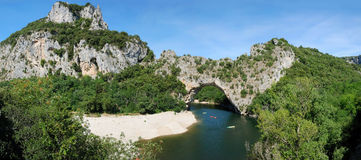 Pont d' Arc - panorama 180 ° Royalty Free Stock Photo