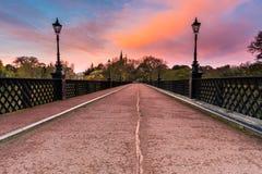 Pont d'Armstrong au lever de soleil Photos stock