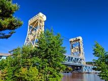 Pont d'ascenseur de lac portage Hancock Michigan photographie stock