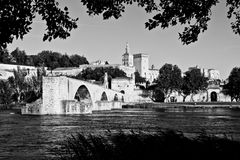 Pont d'Asfeld, France. Avignon Bridge with Popes Palace and Rhone river, Provence, France stock images