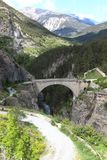 Asfeld Bridge of Briancon, France. The Pont d`Asfeld, a strategic bridge, is one of the links in the defensive system designed by Vauban and therefore listed as Royalty Free Stock Photography