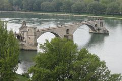 Pont d'Avignon. The bridge at Avignon on the Rhone river Provence France royalty free stock photos