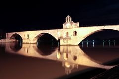Pont d'Avignon. In France by night Stock Images
