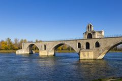 Pont d Avignon, is a famous medieval bridge in the town of Avign Royalty Free Stock Photos