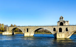 Pont d'Avignon, is a famous medieval bridge in the town of Avign Stock Photos