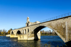 Pont d'Avignon, is a famous medieval bridge in the town of Avign Stock Photo