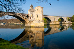 Pont d'Avignon, France with water reflection Royalty Free Stock Photos