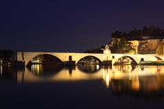 Pont d'Avignon at night, France Royalty Free Stock Photos