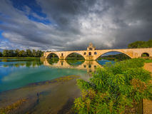 Pont d`Avignon on the Rhone river in Avignon, France. Royalty Free Stock Photography