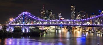 Pont d'histoire les nouvelles années Ève 2016 à Brisbane Photographie stock libre de droits