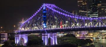 Pont d'histoire les nouvelles années Ève 2016 à Brisbane Photos stock