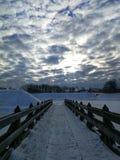 Pont d'hiver, KlaipÄ-DA Lithuanie images stock