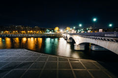 Pont d'Iéna and the Seine at night, in Paris, France. Stock Image
