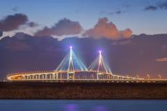Pont d'Incheon la nuit, Séoul Corée Image stock