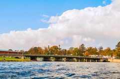 Pont d'Ioannovsky menant à la forteresse de Peter et de Paul à St Petersburg, Russie Images libres de droits