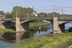 Pont d'octobre dans la ville de Vologda Images stock