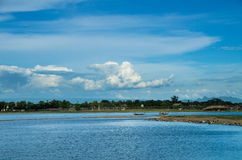 Pont d'U-bein et lac Taungthaman Images libres de droits