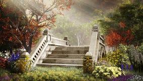 Pont dans le jardin d'automne illustration de vecteur