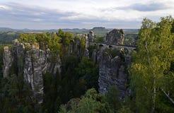 Pont de Bastei, parc national de Saxon Suisse Photographie stock