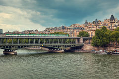 Pont de Bir-Hakeim bridge. Paris, France. Royalty Free Stock Photo