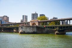 Pont de Bir-Hakeim on Seine river Royalty Free Stock Photography