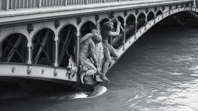 Statues and republique Francaise on Bir-Hakeim bridge. Pont de Bir-Hakeim and swollen river Seine embankments overflow flooding in Paris - news footage - black stock footage