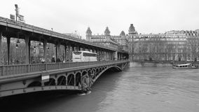 Pont de Bir-Hakeim and swollen river Seine embankments overflow flooding in Paris. PARIS, FRANCE - JAN 30, 2018: Pont de Bir-Hakeim and swollen river Seine stock footage