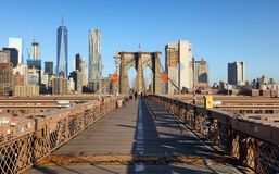 Pont de Brooklyn au lever de soleil, New York City, Manhattan photographie stock libre de droits
