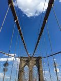 Pont de Brooklyn avec le ciel bleu nuageux, New York Photo stock