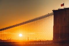 Pont de Brooklyn de plan rapproché à New York City avec le coucher du soleil Photo libre de droits