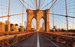 Pont de Brooklyn, New York City, personne photographie stock