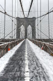 Pont de Brooklyn, tempête de neige - New York City Image stock