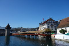 Pont de chapelle, Suisse Photographie stock libre de droits