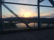 Pont de Chattanooga au coucher du soleil Image libre de droits