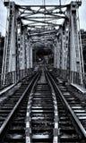 pont de chemin de fer à travers la rivière de montagne image stock