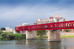 Pont de Ferrocarril au-dessus de rivière d'Ebre Tortosa Images libres de droits