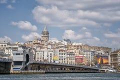 Pont de Galata et littoral de Karakoy, Istanbul, Turquie image libre de droits
