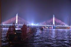Pont de Haiyin sur le Pearl River dans le canton Chine de Guangzhou images stock
