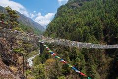 Pont de Hillary au Népal image libre de droits