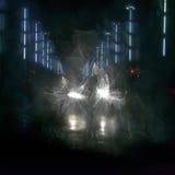 Pont de Kaunas Aleksotas la nuit Photo stock