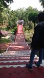 Pont de l'amour au parc de langgeng de Kyai dans le magelang Indonésie Images stock