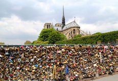 Pont de l Archeveche with love padlocks in Paris Stock Image