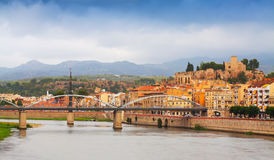 Pont de l'Estat over Ebro river  and Suda Castle in Tortosa Stock Image