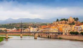 Pont de l'Estat over Ebro river  and Suda Castle in Tortosa Stock Image