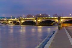 Pont de la Concorde at night in Paris, France Stock Photography