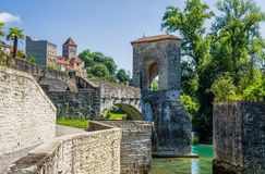 Pont de la Legende, or Bridge of Legend in Sauveterre-de-Bearn Royalty Free Stock Photo