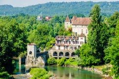 Pont de la Legende en dio el d'Oloron, Francia Imágenes de archivo libres de regalías