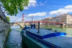 Pont de la Sa?ne, et de Saint-gorges, ? vieux Lyon photo stock