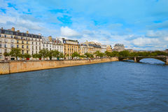 Pont de la Tournelle over Seine river of Paris Stock Photo